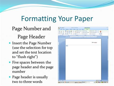 style research paper page numbers