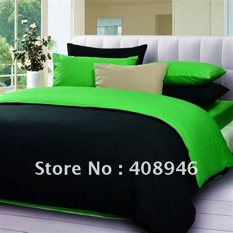 Fedex Free Shipping Wholesale 40s 100 Sateen Cotton Hot Green And Black Bedding Sets