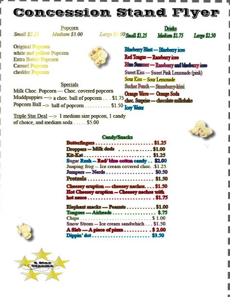 concession stand menu template zach s desktop publishing conession stand flyer
