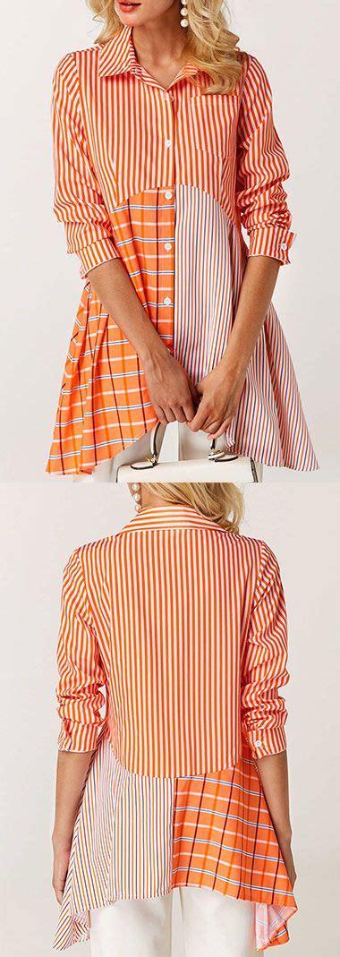 Expand Floral Print Blouse Oranye button front asymmetric hem printed orange fashion