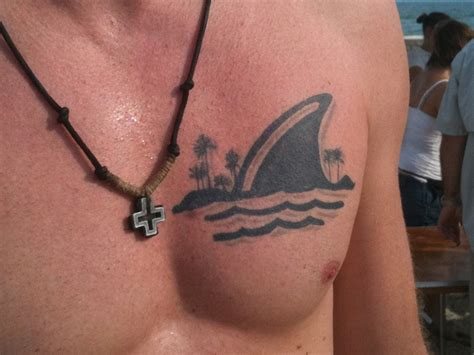 shark fin tattoo land shark design on chest busbones