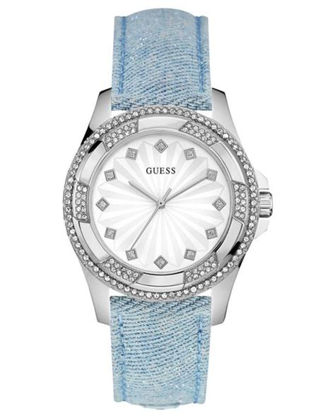 Jam Guess Denim Blue guess s sky blue sparkle denim on leather