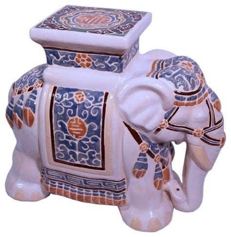 Porcelain Elephant Stool 18 quot h ceramic assorted color painted elephant garden stool accent and