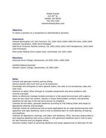 Receptionist Objective On Resume by Receptionist Resume Objective Free Resume Templates