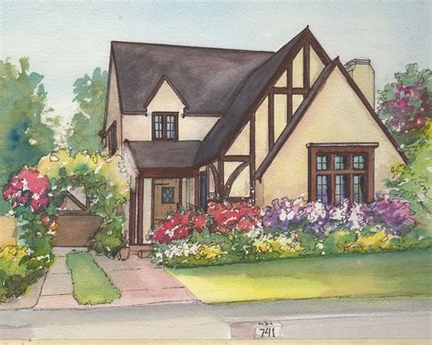 house portrait artist watercolor house drawing painting of your home with ink