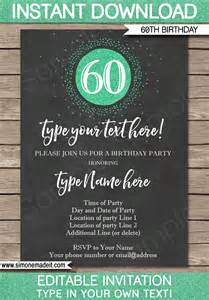 60th birthday invitation template chalkboard amp green glitter
