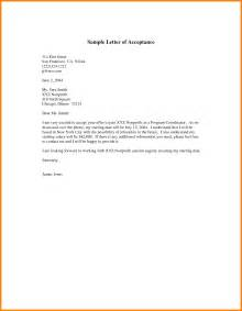 Acceptance Letter Exle Uk Acceptance Letter For Best Business Template