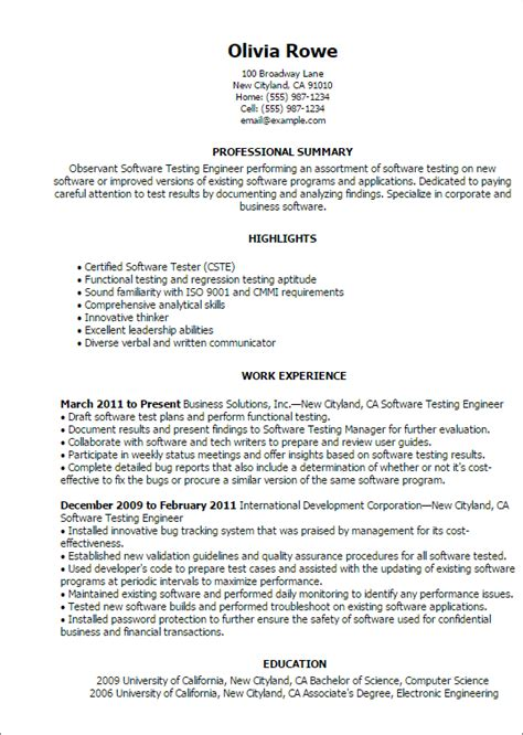 software testing resume format professional software testing templates to showcase your