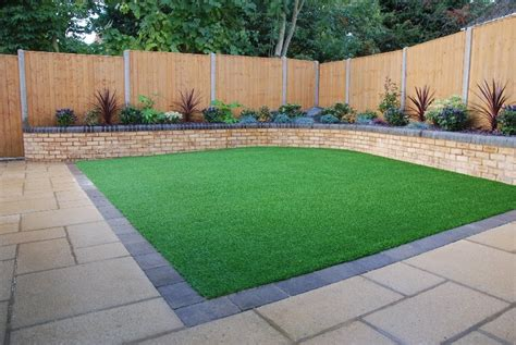 ideas for back gardens artificial grass laid in square back garden