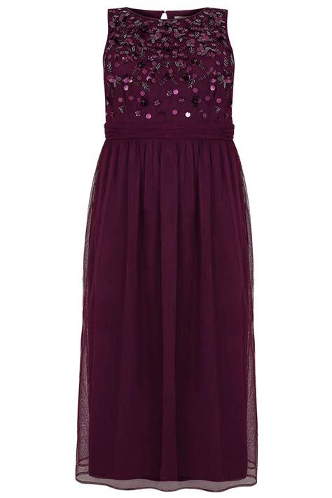 Sale Id 321 Faces Print Dress luxe dunkel lila pailletten perlenstick maxikleid in