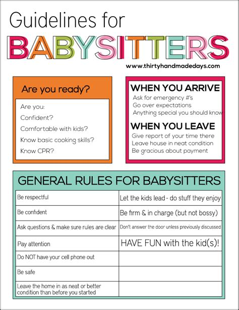 guidelines for babysitting activities and babies