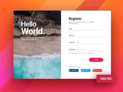 us design application search login screen ui for mobile and desktop free resource