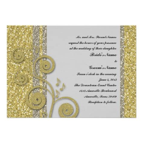 gold glitter wedding invitations uk fancy silver gold glitter effect wedding invite zazzle