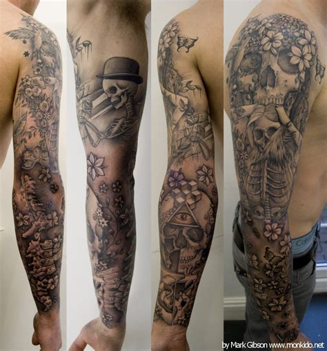 rose and skull sleeve tattoos skull and roses sleeve interior home design