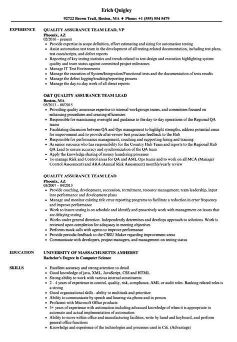 quality assurance team lead resume sles velvet