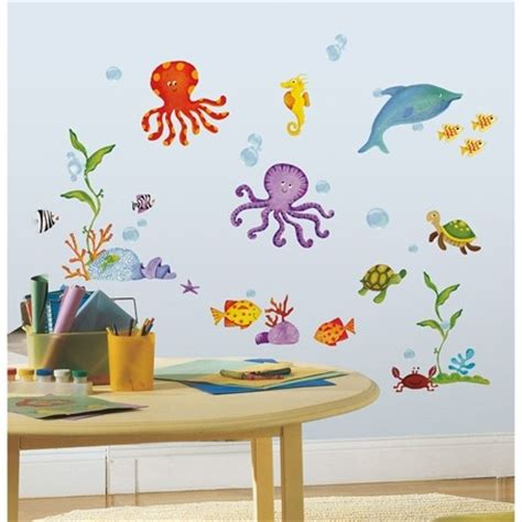 large childrens wall stickers sea fish 60 big removable wall decals animals room decor stickers 2 ebay