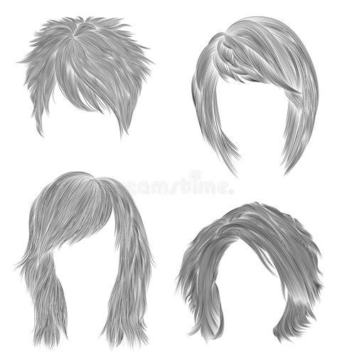 medium length hairstyle sketches set short and medium woman hairs black pencil drawing