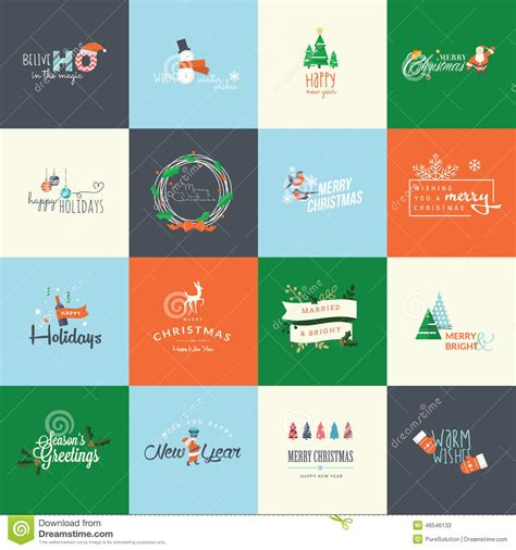 materials required for greeting cards set of flat design elements for and new year