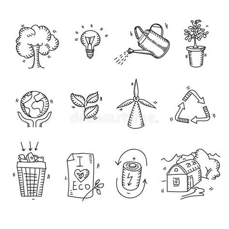 doodle planet flower doodle sketch ecology organic icons eco stock