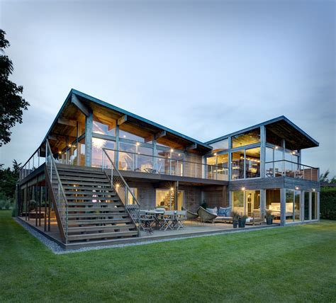 hurricane proof wood and steel waterfront home on