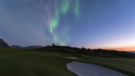 northern lights august lofoten links golf and northern lights from august