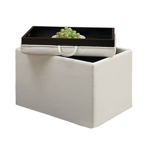 Storage Ottoman With Tray Designs4comfort Ivory Accent Storage Ottoman With Tray Top