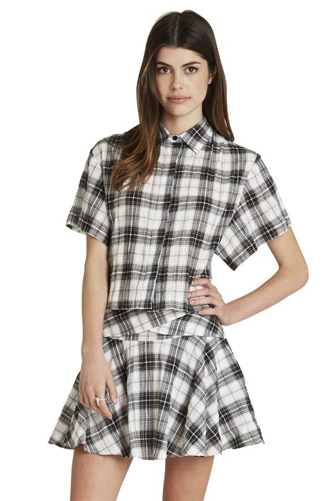 Sleeve Print Cropped T Shirt sleeve plaid print cropped shirt