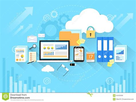 imagenes back it up computer device data cloud storage security flat stock
