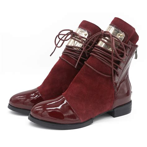 Flat Shoes Martin 36 43 boots genuine leather flat martin ankle boots womens motorcycle boots autumn shoes