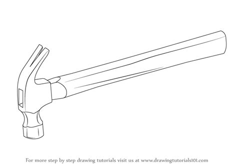 simple drawing tool learn how to draw a hammer tools step by step drawing