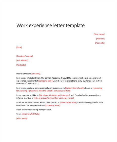 Work Experience Letter Guide 34 Letter Templates In Pdf Free Pdf Documents