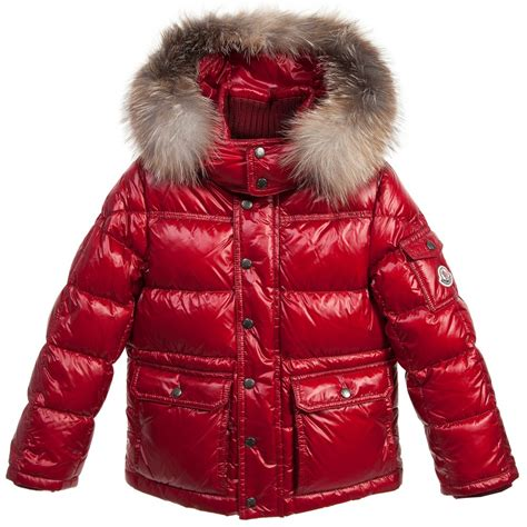 moncler red down padded hubert jacket with fur trim