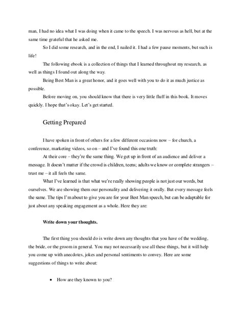 how to write a best man s speech with exle