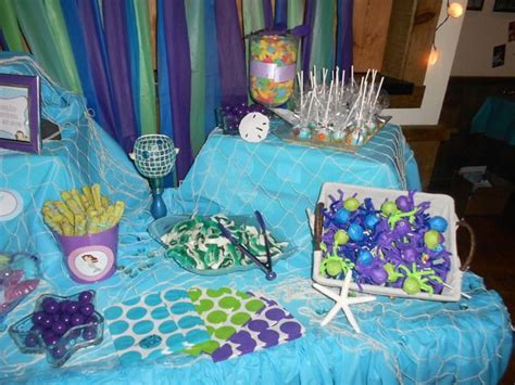 under the sea candy table under the sea mermaid party birthday party ideas the o