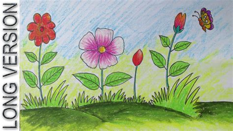 How To Draw A Flower Garden Drawing Of Pencil How To Draw A Garden With Flowers