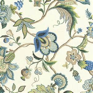 blue jacobean floral linen fabric traditional