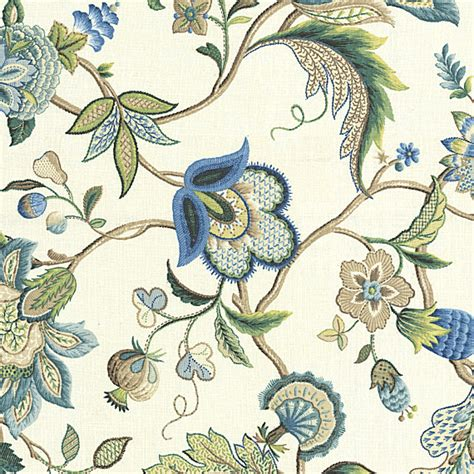 blue floral upholstery fabric blue jacobean floral linen fabric traditional