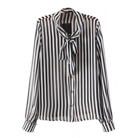 Blouse Starburks White Or Black blouse bow tie black and white stripes striped blouse office office shirt