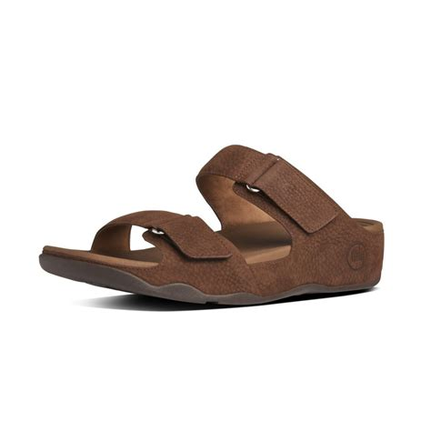 Fitflop Nubuck 1 fitflop fitflop design goodstock chocolate brown nubuck leather slip on sandal with two