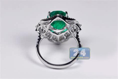 womens emerald gemstone ring 18k white gold 6 44 ct