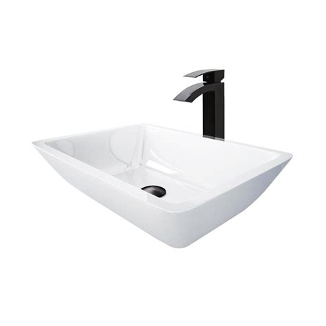 Black And White Vessel Sink by Vigo Vessel Sink In White With Duris Vessel