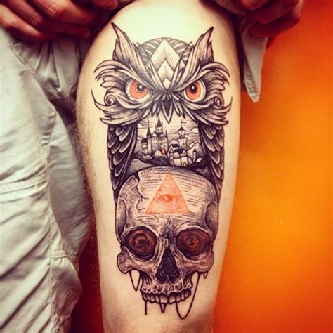 owl and skull tattoo meaning owl and skull meaning