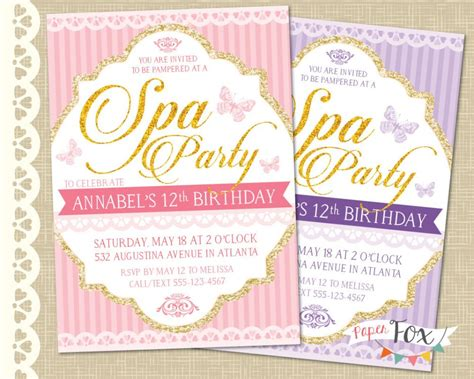 adorable pink purple spa pampering birthday party invitation card