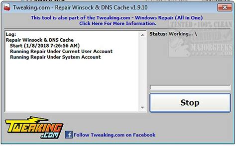 reset winsock tool tweaking com repair winsock dns cache will help solve