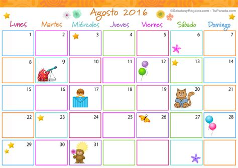 Calendario Agosto 2016 Calendario Multicolor Agosto 2016 Calendario