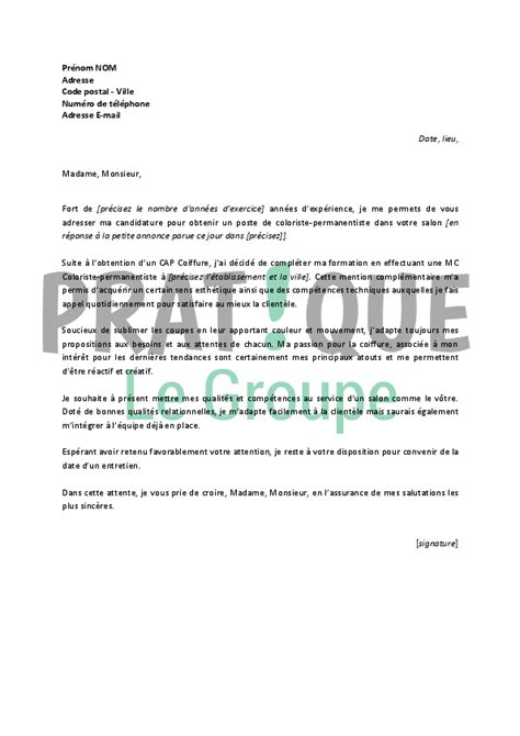 Lettre De Motivation Emploi Week End Lettre De Motivation Pour Un Emploi De Coloriste Permanentiste Pratique Fr