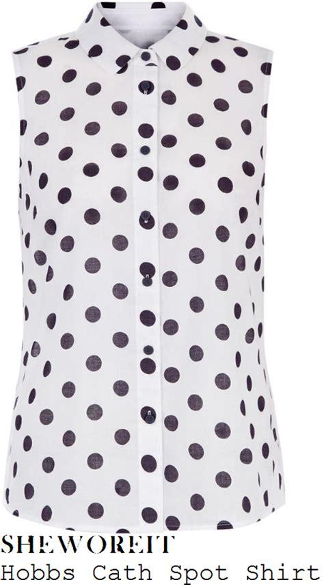 White Lace Sleeved Shirt And Polka Dot Skirt 30451we M hobbs polka dot blouse lace henley blouse
