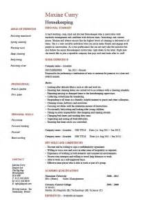 Domestic Housekeeper Sle Resume by Housekeeping Resume Cleaning Sle Templates Description Maintenance Carpets Skills