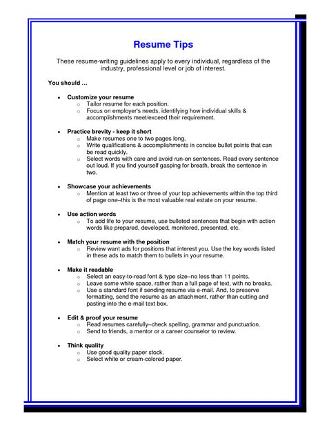 Resume Format Tips Resume Writing Exles Resume Writing Tips