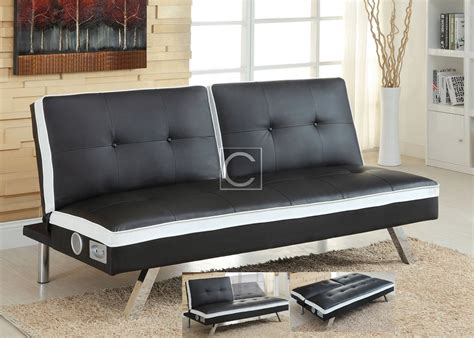 bed with speakers black white leatherette futon sofa bed wireless